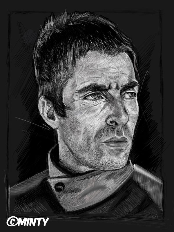 Liam Gallagher Black & White Print.  - product images