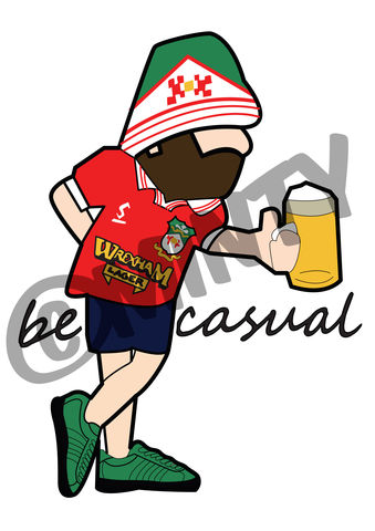 Wrexham,BE,CASUAL,Print.,wrexham fc , Football , football league , illustration , design , be casual