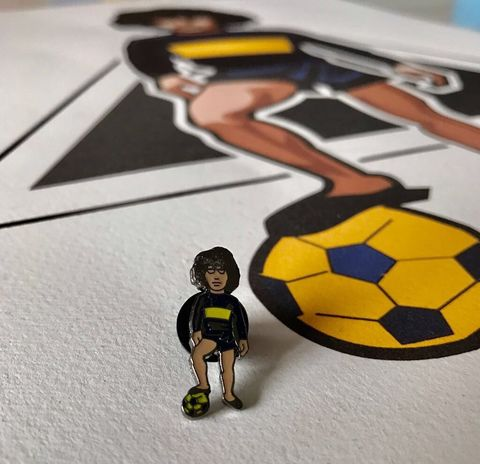 Maradona,Boca,x,Calcio,E,Moda,Pin,Badge,Rangers , football , Scotland  , newcastle ,everton , leeds utd , illustration , design ,artwork ,pin badge ,