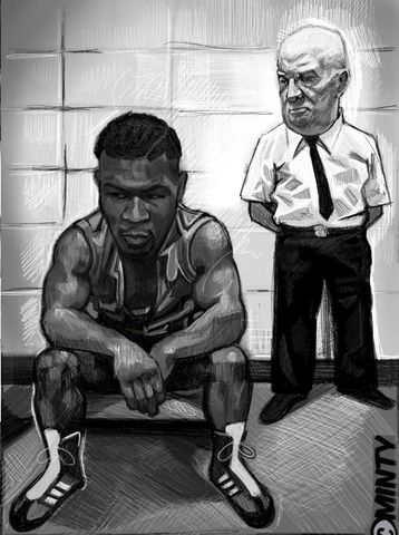Tyson,&,D'amato,print.......,mike Tyson , iron mike  , boxing , Wales  , illustration , design , be casual