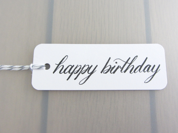 Happy Birthday Handwritten Calligraphy Present Label Gift Tag