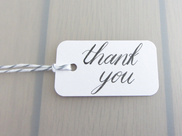 Thank You Handwritten Calligraphy Present Label Gift Tag