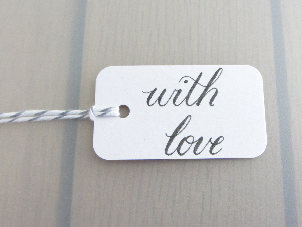 With Love Handwritten Calligraphy Present Label Gift Tag