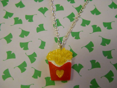 Fries,Necklace,Super kawaii food mcdonalds fries chips pendant silver gold necklace chain cute pendant