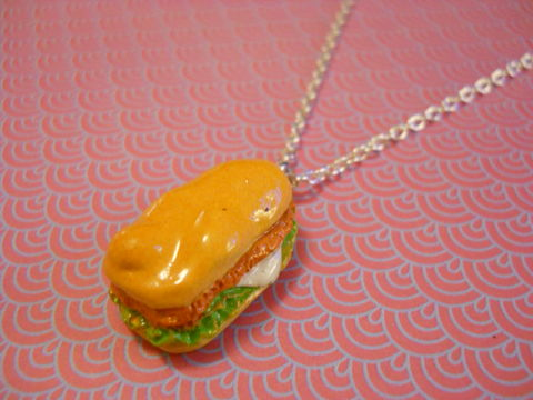 Subway,Sandwich,Necklace,Super kawaii food subway sandwich pendant silver gold necklace chain cute pendant