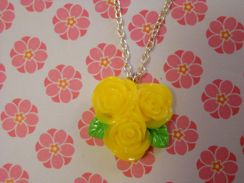 Triple Yellow Rose Necklace - product images  of
