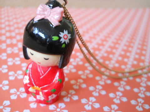 Red,Kimono,Necklace,kawaii harajuku red geisha russian doll dolly kimono japanese silver gold necklace chain cute pendant