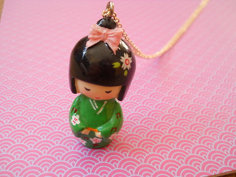 Green,Kimono,Necklace,kawaii harajuku green geisha russian doll dolly kimono japanese silver gold necklace chain cute pendant necklace