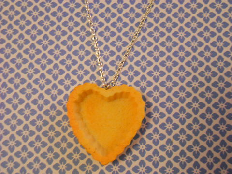 Pastry,Heart,Tart,Necklace,Super kawaii food large heart shape pastry tart pendant silver gold necklace chain cute pendant