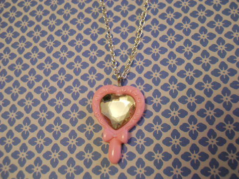 Baby,Pink,Princess,Necklace,Super kawaii fairytale princess mirror necklace with sparkly diamanté pendant  silver gold necklace chain cute pendant