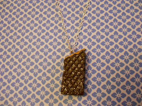 Chocolate,Wafer,Necklace,Super kawaii long half eaten chocolate wafer biscuit food pendant  silver gold necklace chain cute pendant