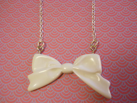White,Long,Bow,Necklace,Super kawaii long white bow pendant  silver gold necklace chain cute pendant