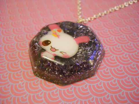 Purple,Rabbit,Octogan,Necklace,Super kawaii octogan shaped resin pendant filled with fine strands of silvery purple glitter. The pendant also features a cute pink winking rabbit with a cake silver gold necklace chain cute pendant