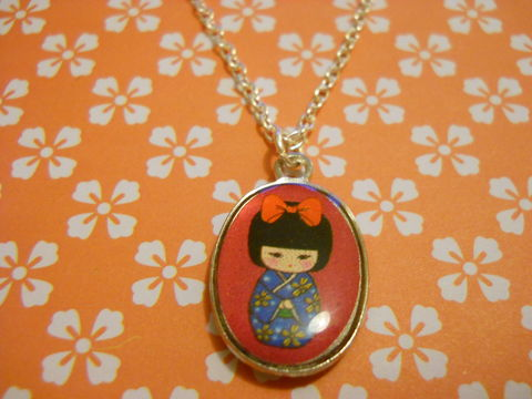 Pink,Geisha,Necklace,kawaii harajuku pink geisha russian doll dolly kimono japanese silver gold necklace chain cute pendant