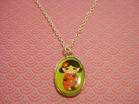 Green,Geisha,Necklace,kawaii harajuku green geisha russian doll dolly kimono japanese silver gold necklace chain cute pendant