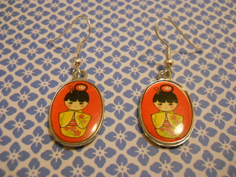 Red,Geisha,Earrings,harajuku kawaii red cute geisha kimono silver plated drop earrings