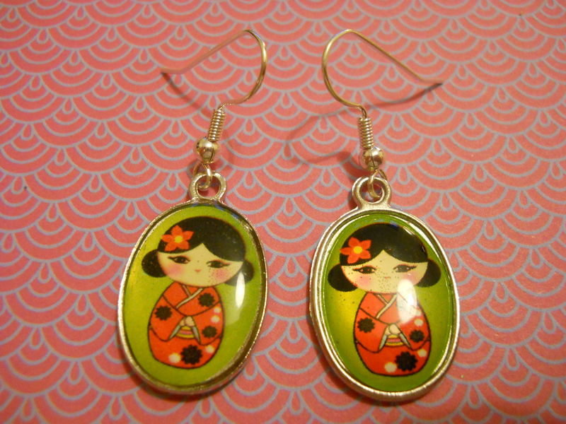 Green Geisha Earrings - product images