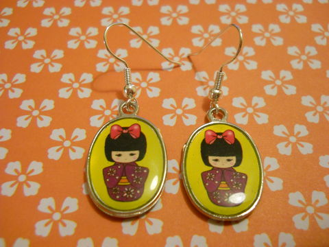 Yellow,Geisha,Earrings,harajuku kawaii yellow cute geisha kimono silver plated drop earrings