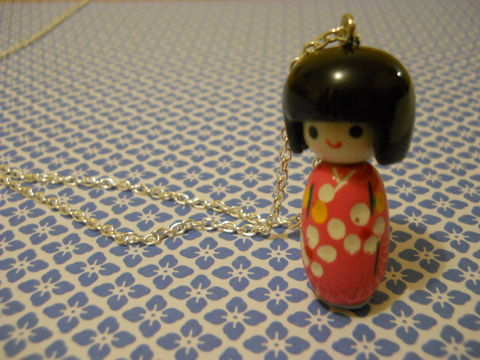 Pink,Kokeshi,Doll,Necklace,kawaii harajuku pink kokeshi doll geisha russian doll dolly kimono japanese silver gold necklace chain cute pendant