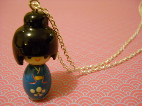 Blue,Kokeshi,Doll,Necklace,kawaii harajuku blue kokeshi doll geisha russian doll dolly kimono japanese silver gold necklace chain cute pendant