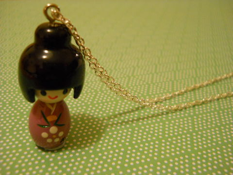 Purple,Kokeshi,Doll,Necklace,kawaii harajuku purple kokeshi doll geisha russian doll dolly kimono japanese silver gold necklace chain cute pendant