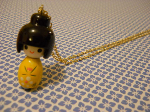 Yellow,Kokeshi,Doll,Necklace,kawaii harajuku yellow kokeshi doll geisha russian doll dolly kimono japanese silver gold necklace chain cute pendant