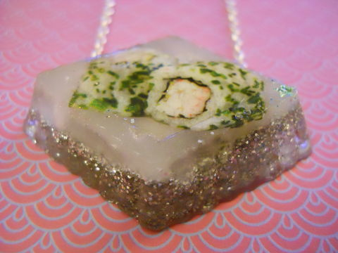 Silver,Prawn,Maki,Resin,Necklace,Super kawaii prawn maki seaweed speckled rice sushi rolls  wagashi diamond shaped resin pendant filled with silver glitter  and backed with silver glitter. The pendant also features a dog with cherries and a cake  silver gold necklace chain cute pendant