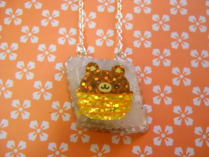 Silver Teddy Bear Resin Necklace - product images  of