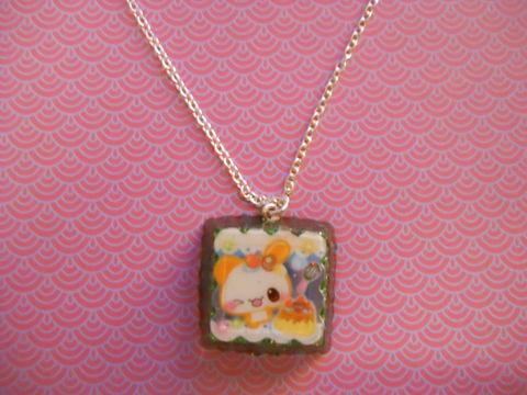Green,Square,Wagashi,Rabbit,Resin,Necklace,harajuku silver necklace chain cute pendant Super kawaii wagashi square shaped resin pendant filled with green glitter. The pendant features a picture of kawaii rabbit and cake on the front of the pendant.