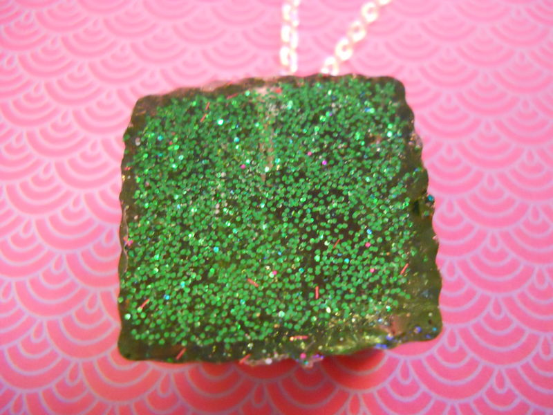 Green Square Wagashi Rabbit Resin Necklace - product images  of
