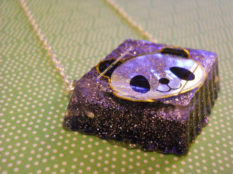 Purple Panda Resin Necklace - product images  of