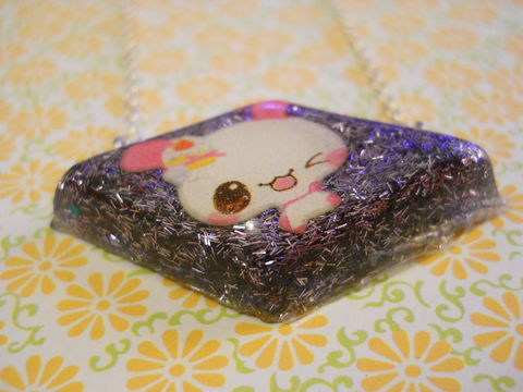 Purple,Rabbit,Diamond,Resin,Necklace,harajuku silver necklace chain cute pendant Super kawaii wagashi diamond shaped resin pendant filled with purple glitter strands. The pendant features a picture of kawaii rabbit.