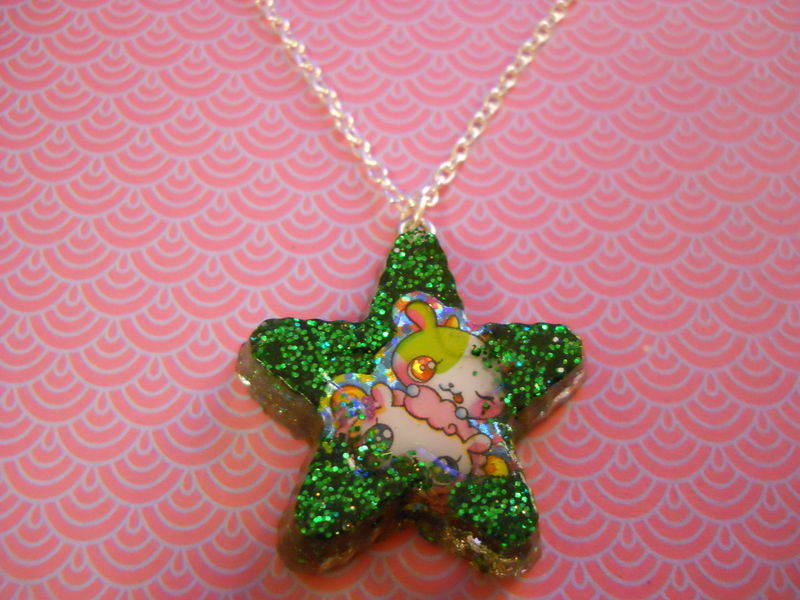 Green Star Dog Resin Necklace - product images  of