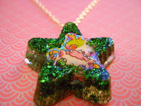 Green,Star,Dog,Resin,Necklace,harajuku silver necklace chain cute pendant Super kawaii wagashi star shaped resin pendant filled with green glitter. The pendant features a picture of kawaii dog.