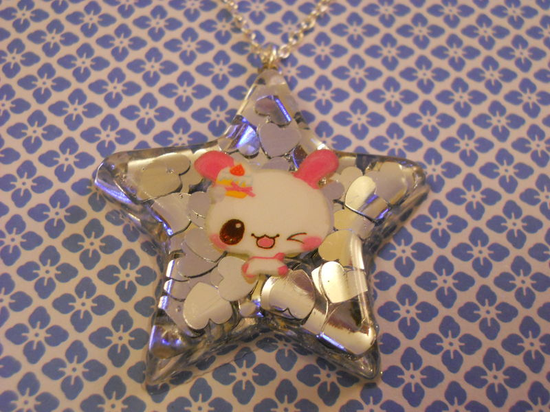 Silver Star Pink Dog Necklace - product images  of