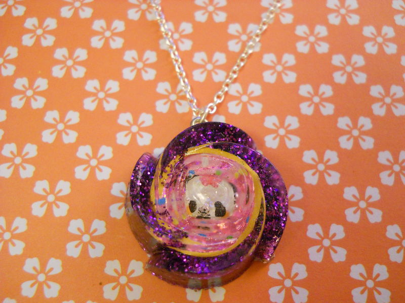 Dark Purple Panda Rose Wagashi Resin Necklace - product images  of