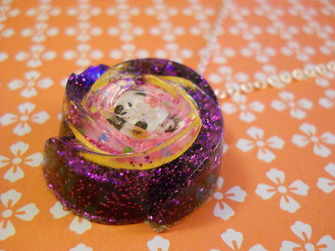 Dark,Purple,Panda,Rose,Wagashi,Resin,Necklace,harajuku silver necklace chain cute pendant Super kawaii wagashi jelly shaped resin pendant filled with dark purple glitter. The pendant features a picture of a pink and orange kawaii panda.