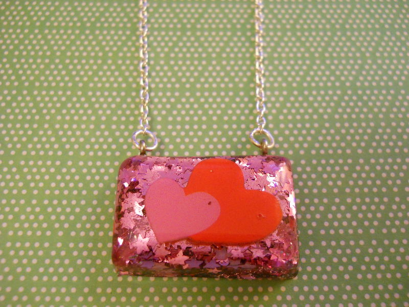 Pink Star Heart Love Rectangle Resin Necklace - product images  of
