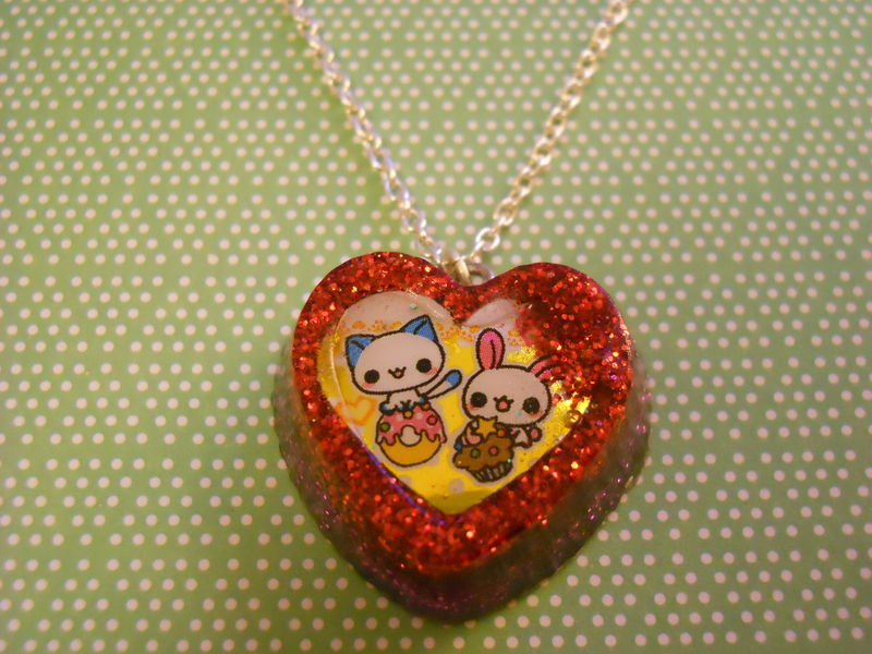 Red and Pink Love Heart Cat and Rabbit Resin Necklace - product images  of