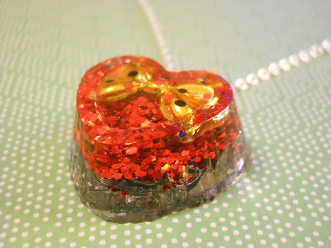 Gold,Bow,Love,Heart,Resin,Necklace,harajuku silver necklace chain cute pendant Super kawaii heart shaped resin pendant filled with a layer of red glitter with a gold bow on top and a layer of silver heart shaped glitter confetti on the bottom.