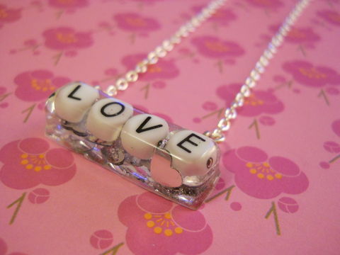 Silver,Heart,Love,Rectangle,Resin,Necklace,harajuku silver necklace chain cute pendant Super kawaii rectangle shaped resin pendant filled with silver heart shaped glitter confetti. The pendant also features the personalised 'LOVE' logo.