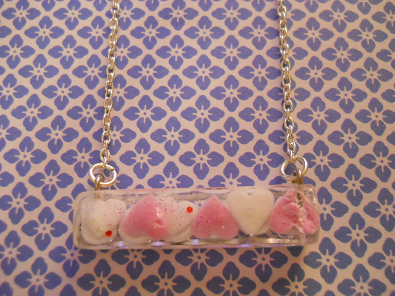 Pink and White Candy Heart 'Kawaii' Rectangle Resin Necklace - product images  of