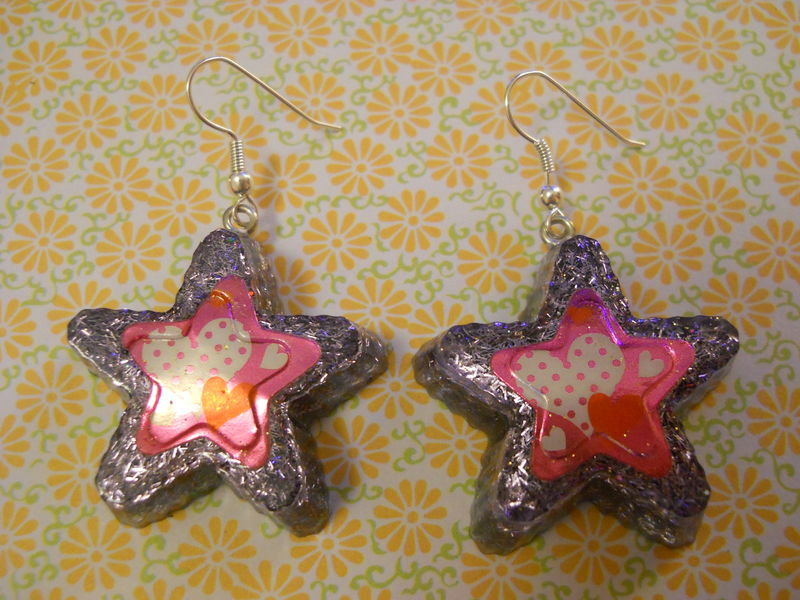 Purple Superstar Love Resin Earrings - product images  of