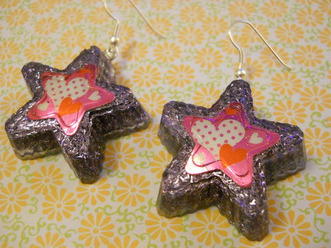 Purple,Superstar,Love,Resin,Earrings,harajuku Super kawaii star shaped resin earrings filled with purple glitter decorated with a kawaii pink white and red hearts and stars.
