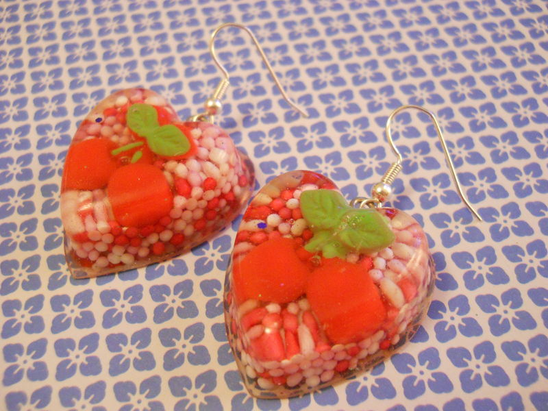 Cherry 100s and 1000s Love Resin Earrings - product images  of