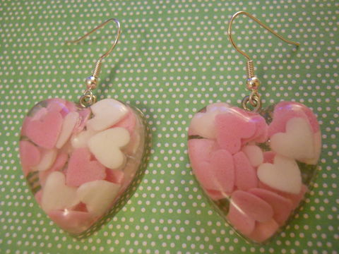Candy,Pink,White,Love,Heart,Resin,Earrings,harajuku Super kawaii heart shaped resin earrings filled with pink and white heart shaped sugar candy confetti on silver plated earring hooks.
