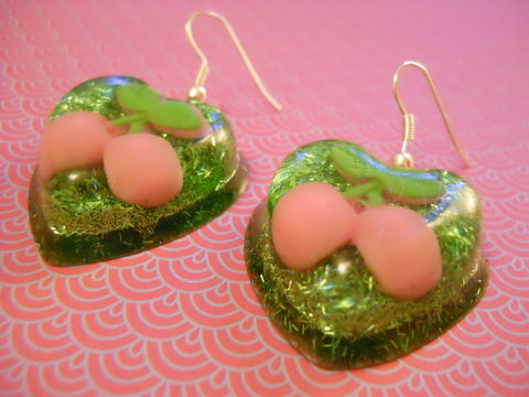 Cherry,Green,Glitter,Love,Resin,Earrings,harajuku Super kawaii heart shaped resin earrings filled with green glitter strands decorated with a kawaii light pink cherry charm on silver plated earring hooks.