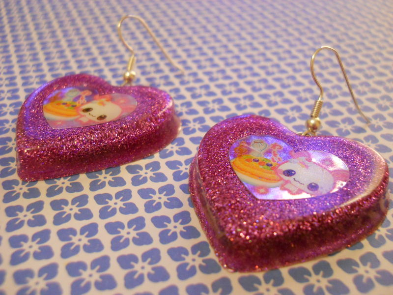 Pink Rabbit Cake Love Resin Earrings - product images  of