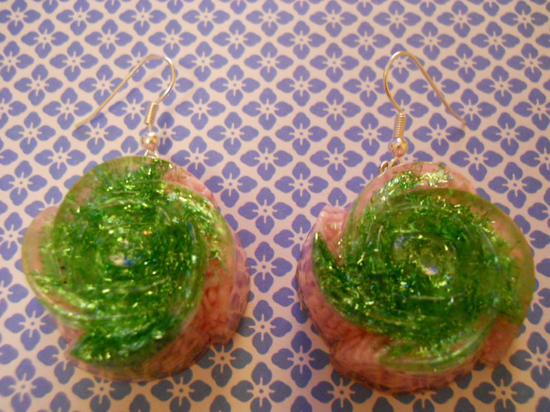 Light Pink 100s and 1000s Green Glitter Rose Wagashi Resin Earrings - product images  of
