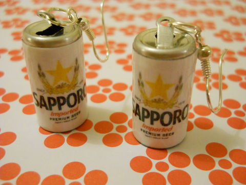 Sapporo,Japanese,Beer,Earrings,harajuku kawaii japanese beer sapporo can food drink sweets candy earrings silver